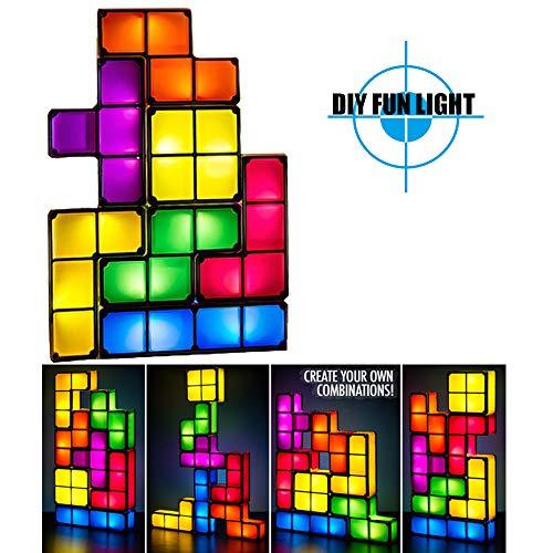 Tetris Stapelbaar Speelgoed Licht Lamp, DIY Tetris Tangram Licht, Leer hulp DIY Magic Blokken Puzzels Speelgoed voor Kinderen Slaapkamer Home Decor, Kinderen Speelgoed Kerstcadeau