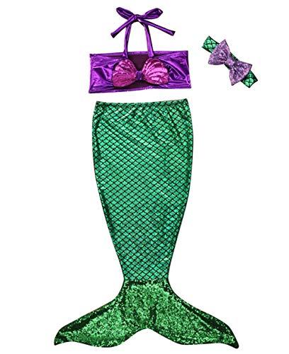 Traje de Baño Niña Cola de Sirena + Traje de Baño Bikini Traje de Baño Sirena Conjunto de Tres Piezas (verde2, 4-5 años de Edad)