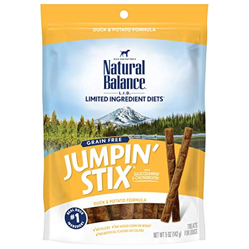 Natural Balance L.I.D. Limited Ingredient Diets Jumpin' Stix Dog Treats, Duck & Potato Formula, 5 Ounces, Grain Free