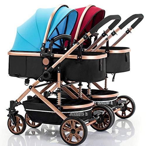 MLKARDUT opvouwbare dubbele kinderwagen reissysteem Compact Fold paraplu kinderwagen met oversized luifel, extra grote opslag en anti-vibratie rem reissysteem