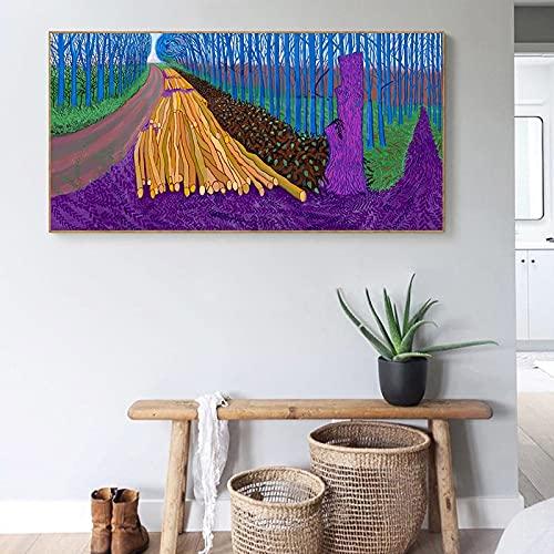 David Hockney paisaje idílico abstracto colorido bosque árbol paisaje lienzo pintura pared arte cartel dormitorio sala de estar estudio club decoración del hogar mural