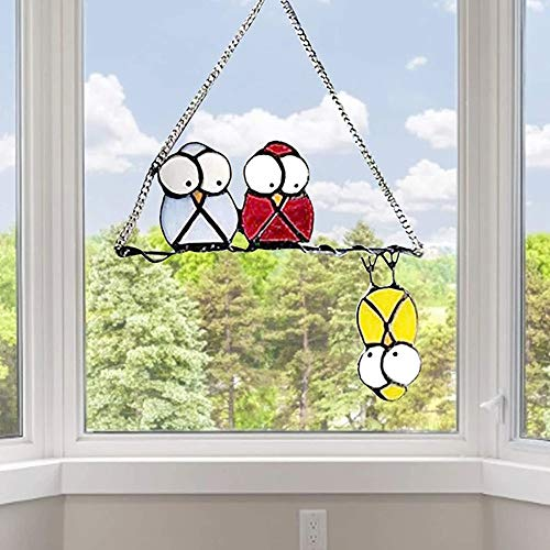 Multicolor Birds on a Wire High Stained Glass Suncatcher Window Panel,Bird Series Ornaments Pendant Home Decoration,Gift for Bird Lover,Spring Pendant Window Decor Decoration (D)