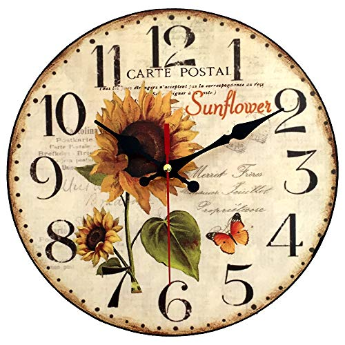 12 Inch Sunflower Kitchen Wall Clock Rustic Farmhouse Clocks, Thick Wood Home Decor Clock for Bedroom, Office, Dinning Room, Silent Battery Operated (White)
