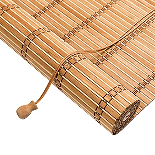 Roller blind Bamboo Shade Retro Curtain Shading Bamboo, Window Roman Blinds,70% Blackout Light Filtering Privacy Sunscreen Wooden Blind,for Doors Window Balcony,Hook Installation (60x100cm/24x39in)