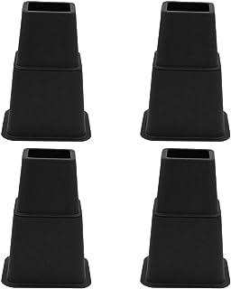 KESOTO 高さ調節が簡単にできる 高さ調節脚 高さをあげる足 テーブル・ ベッド用 継ぎ足 全2色 8個セット - ブラック