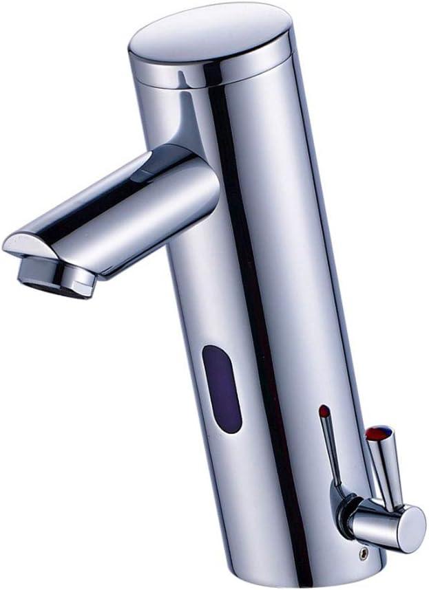 Grifo para lavabo, grifo sin contacto con sensor automático, grifo para lavamanos con manos libres activado por movimiento, grifo mezclador caliente y frío, cromo