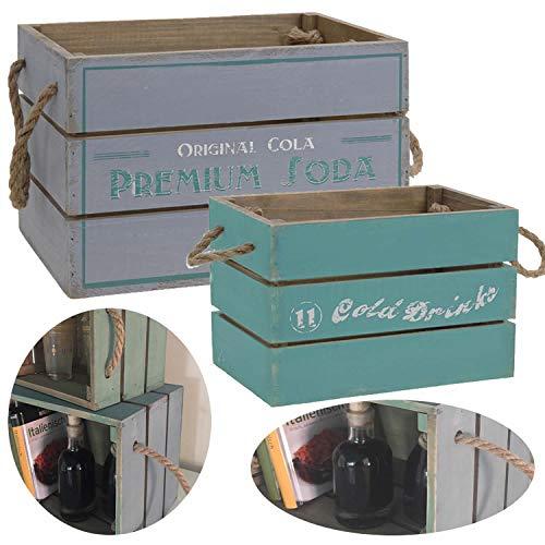 LS-LebenStil 2X Holz Weinkiste Set Grau Türkis Deko Aufbewahrungsbox Stapelbox Wand-Regal