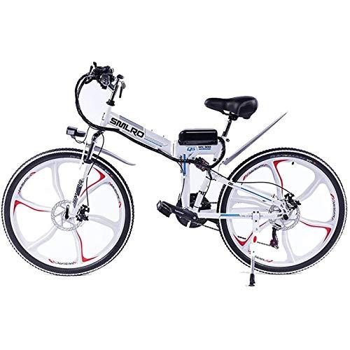 PLAYH Mountain Bike Elettrica Pieghevole per Adulti, Batteria al Litio 48V / 8Ah E-Bike Bicicletta da 26 Pollici con Ammortizzatore Completamente Integrato (Color : A)