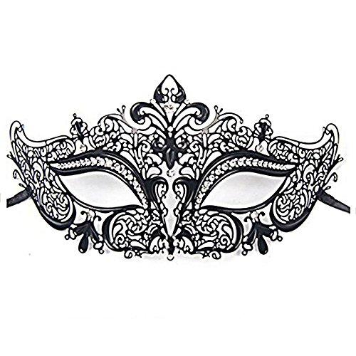 JapanAttitude Masque loup vénitien élégant gothique avec strass blanc pour tenue de bal costumé, soirée