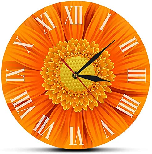 JJDSN Primer Plano de un Hermoso Reloj Decorativo de Gerbera Naranja con números Romanos, Naturaleza, Margarita, Guirnalda de Flores, Arte de Pared, Reloj de Pared Moderno para Sala de Estar, Dorm