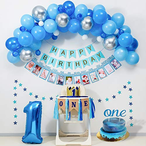 Baby Boy 1St Birthday Decorations BLUE Party Supplies for ONE Highchair Banner Decorations,Royal Prince Crown,Happy Birthday Banner,12 Months Photo Banner,Blue silver Balloon Garland kit,ONE Cake Topper.