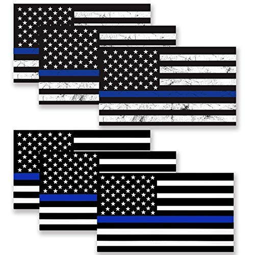 BOKA 6 Pack Thin Blue Line Decal Sticker, 2 Styles Reflective USA Flag Decal Packs for Cars & Trucks, 5x3 Upgraded Vinyl American USA Police Flag Sticker Honoring Police Law Enforcement
