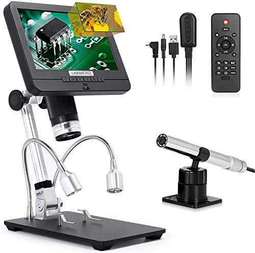 Linkmicro Digital Microscope with Endoscope Image Switchable 7 Inch Screen Two Camera Real Time Sync Play with Metal Adjustable Stand for Material Inspection, Phone Repair and SMT/BGA Soldering Tools