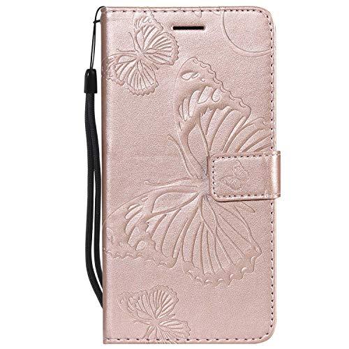 DENDICO - Funda para Samsung Galaxy S6 Edge Plus, de piel sintética, con función de apoyo y tarjetero, color oro rosa