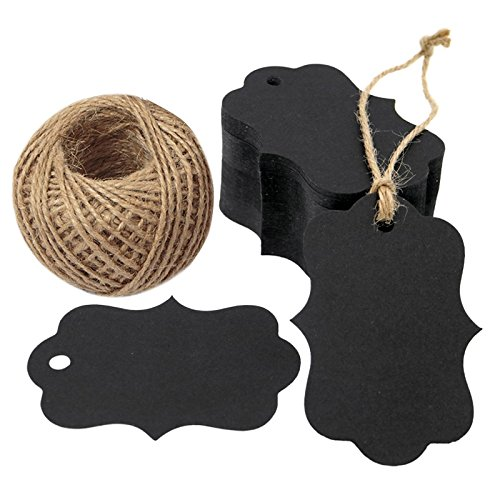 100 PCS Black Paper Gift Tags with String, 2.75''x 1.97'' Kraft Hang Tags with 100 Feet Jute Twine