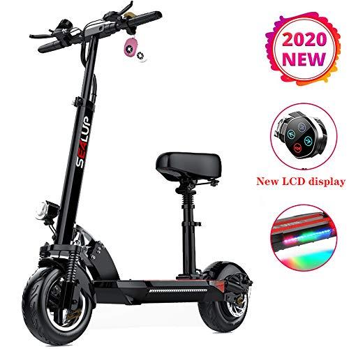 HSJCZMD Scooter eléctrico Plegable para Adultos, Scooter eléctrico con Asiento Puede Viajar 60 kilometros, Inteligente Pantalla LCD, Crucero de Vehículos Eléctricos