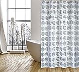 """Cotexsa by MSV Premium Anti-Schimmel Textil Duschvorhang - Anti-Bakteriell mit 12 Duschvorhang-Ringen - Polyester, """"Begonia"""" Weiß/Schwarz 180x200cm – Made in Spain"""