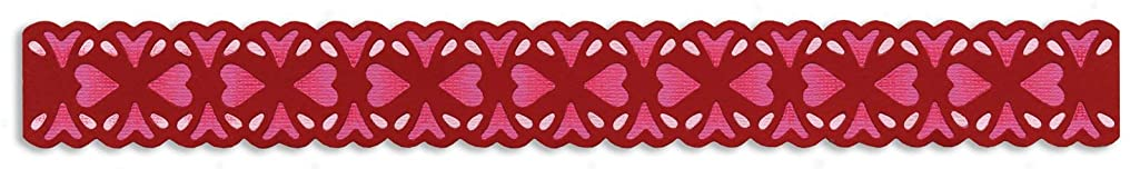 Sizzix 657411 Sizzlits Decorative Strip Die, Floral Hearts by Scrappy Cat, Multicolor