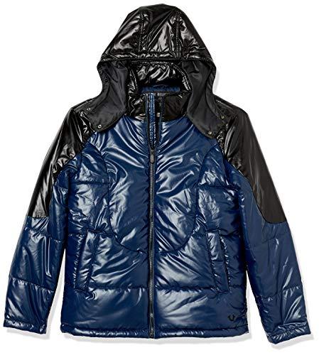 True Religion Herren Hooded Shiny Long Sleeve Puffer Jacket Parka, Ace Blau/Schwarz, Large