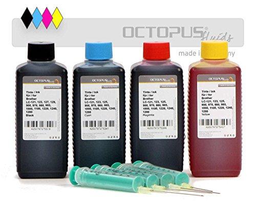 Octopus 4X 100 ml navulinkt printer inkt voor Brother LC-121, LC-123, LC-125, LC-127, LC-129, LC-900, LC-970, LC-980, LC-985, LC-1000, LC-1100 o.a. patronen incl. navulspuiten, geen OEM