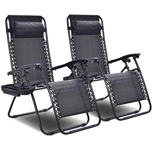 Giantex 2 PCS Zero Gravity Chair Patio Chaise Lounge Chairs Outdoor Yard Pool Recliner Folding Lounge Chair with Cup Holder (Black-2 PCS)