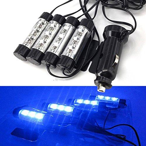 Caxmtu Lumières décoratives universelles bleues pour voiture 12 V 4 x 3 LED Glow Source de lumière d'intérieur de voiture Accessoires de décoration