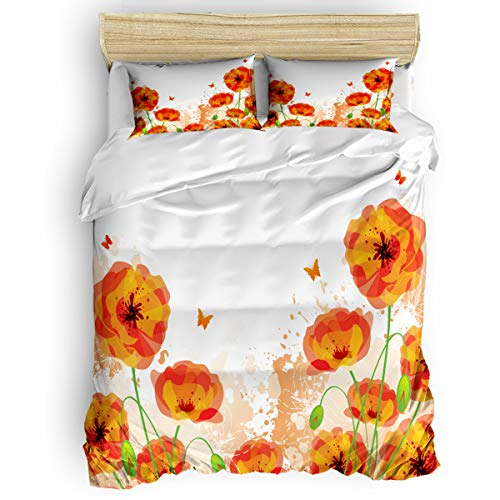 4 Pieces Luxury Duvet Cover Set Floral Poppy Butterfly for Kids/Girl/Women/Adults Red Flower Breathable Bedding Comforter Cover Sets with Zipper, 4 Corner Ties Full