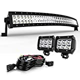 Nissan Off-Road Bumpers - TURBO SII 40-42Inch Curved Offroad Grille Front Lower Bumper Windshield Upper Roof Led Light Bar + 4In Pods Cube Fog Work Lights For 03-19 Dodge Ram 2500 3500 95-04 TOYOTA Tacoma 16-19 Polaris General