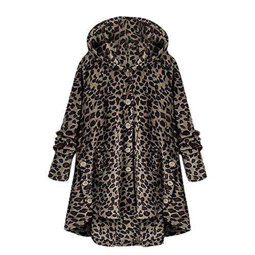 iHENGH Damen Herbst Winter Bequem Mantel Lässig Mode Jacke Frauen Knopf Leopard Mantel Flauschige Schwanz Tops mit Kapuze Lose(Braun, S)