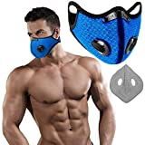 KIWANUU / Sports Training Mask/Workout Mask Breathing Training for Gym/Cardio/Fitness/Running/Endurance/HIIT/Sports Outdoor Activities/Activated Carbon Filter/Blue