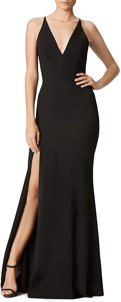 Dress the Population Women's Iris Spaghetti Strap Plunging Long Dress