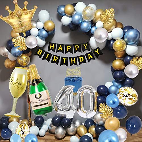 SPECOOL 40th Decorazioni Compleanno Uomo, Decorazioni Feste Oro Blu con Striscione Compleanno, Palloncino Lamina Bicchiere Vino, Palloncino Blu Navy, Palloncini Metallizzati Argento Oro Blu