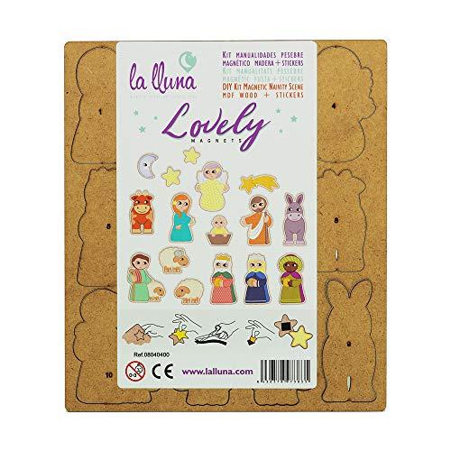 Belén magnético con Adhesivos. Belen Infantil Lovely con 16 Figuras de Madera con imán para Decorar con Stickers.
