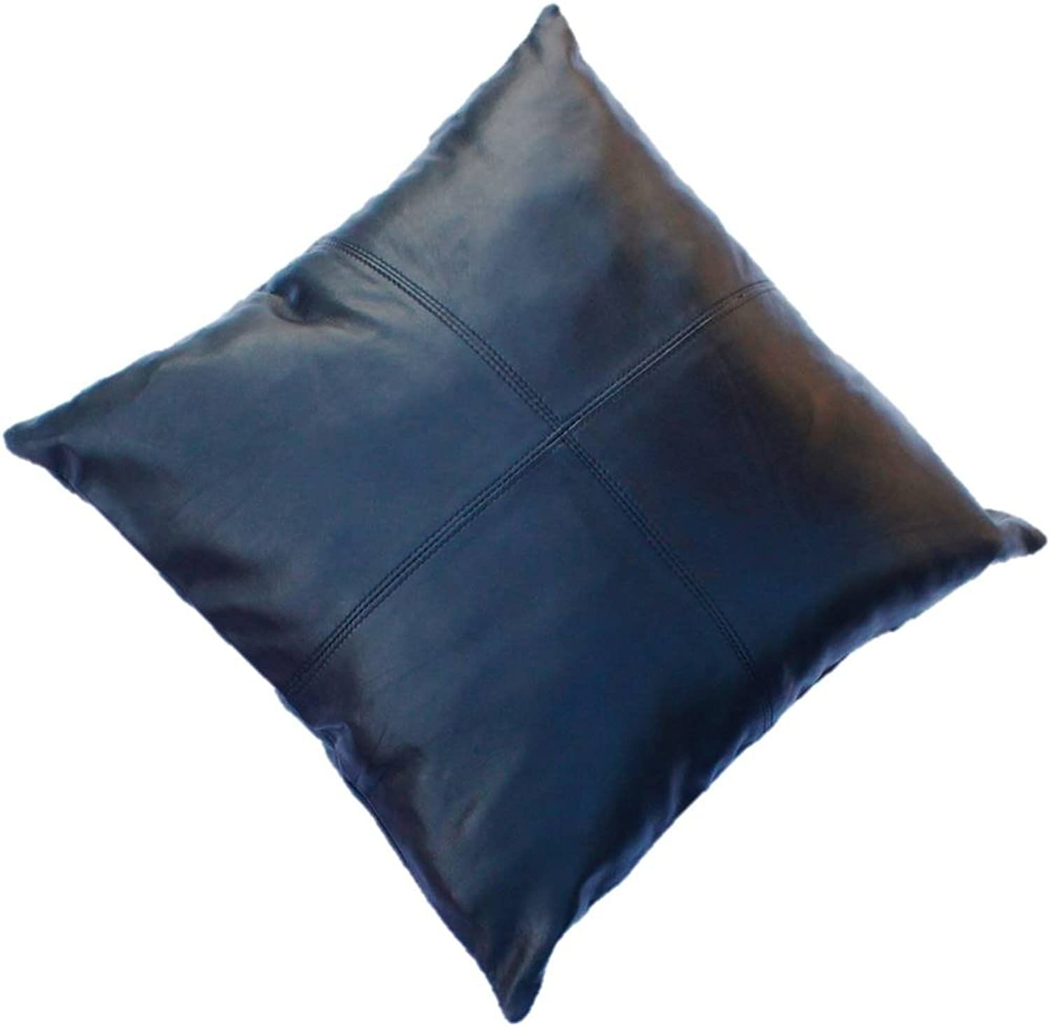 Aaron Craft Black Lambskin Leather Cushion Pillow Cover 18X18