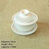 Taza de té Chino Panal de cerámica Gaiwan Kungfu Tazas de té y platillo Sopera Porcelana Juego de té Tazón, Estilo-10-L