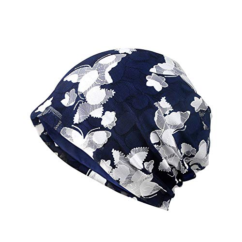 Amorar Mode Spitze atmungsaktiv Baotou Kappe, weicher Turban Kopf der Frauen wickelt elastische Schlaf Kappe Slouchy Hut für Chemotherapie Patienten EIN,EINWEG Verpackung