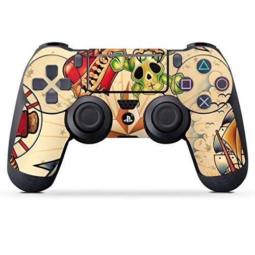 DeinDesign Skin kompatibel mit Sony Playstation 4 PS4 Slim Controller Folie Sticker Schwalbe Rockabilly Anker