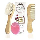 Mocarheri 3PCS Baby-Haarbürste & Kamm-Set, Ziegenborstenbürste und Silikonhaarbürste für die Cradle Cap-Behandlung Holzborstenbürste für Neugeborene und Kleinkinder