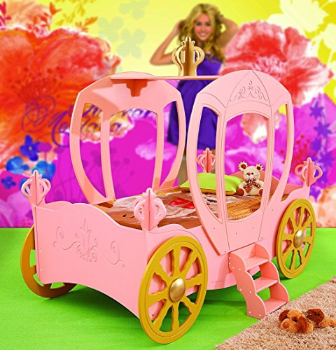 Kinderbett Prinzessin Kutsche Rosa inkl. Matratze