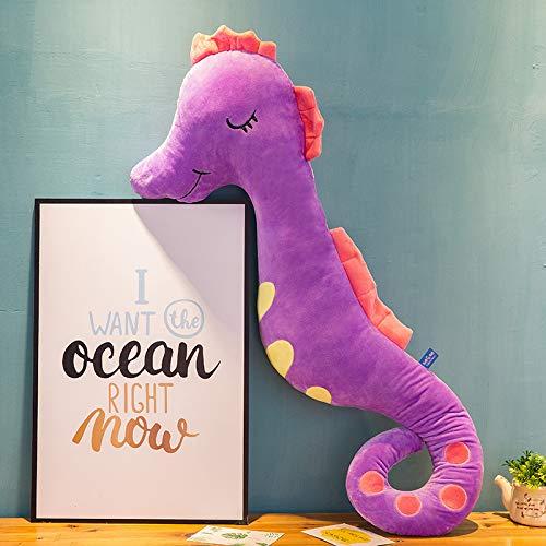 Xiaoahua Lindo Caballito de mar Almohada reconfortante Barra Larga Almohada niños Ragdoll muñeca de Peluche de Juguete niña muñeca para Dormir 1,2 m púrpura