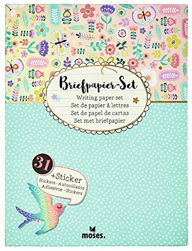 Moses Flowers & Friends Briefpapier-Set | Briefbögen, Briefumschläge und bunte Sticker in einer praktischen Aufbewahrungsmappe | Utensilien für Brief-Freundinnen