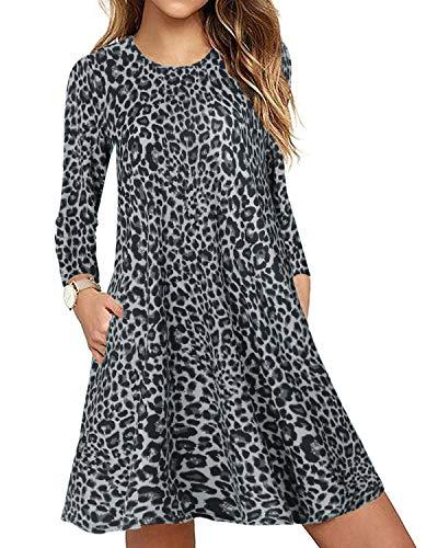 CNFIO - Abito da donna, a maniche lunghe, con tasche A-grigio L