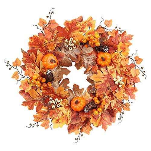 BLUESTEER Artificial Fall Wreath, 21.6 Inches Maple Leaf Tree Root Pumpkin Decorative Wreath Front Door Window Halloween Christmas Thanksgiving Festival Decoration