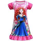 Little Girls Princess Nightgown Toddlers Pajama Dress Milk Silk Nightie for Kids Sleepwear (Red, 6Years)