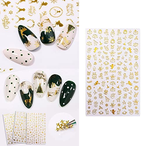 Christmas Gold Nail Stickers Challenge the lowest price Snowflake Dec Art Regular discount Reindeer DIY