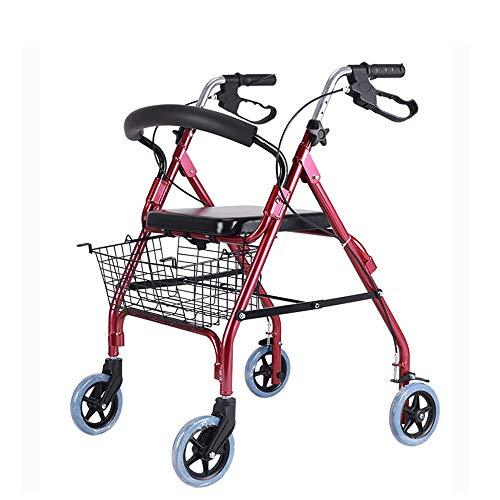 Folding 4 Räder Rollator, 3 In 1 Walker Mit Dem Großen Kapazität Einkaufstasche, Bremsen Und Mittelarmlehne Höhe Geeignet Für Einkaufen Und Erholung