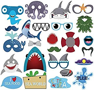 iMagitek 25 Pack Under The Sea Theme New Shark Octopus Party Photo Props for Sea Themed Birthday Party, Baby Shower, Sea Hawaii Party Supplies Decorations