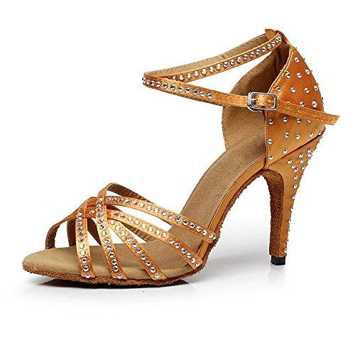 DLisiting Womens Ballroom Dance Shoes Brown Satin Rhinestone Salsa Latin Dance Shoes 4 Inch Heel
