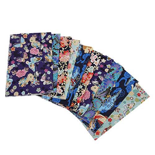 Tecido de algodão, tecido de algodão com padrão de flor 10 unidades Tecido patchwork, para artesanato de costura DIY Patchwork de costura