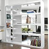 Stand-Regal Raum-Teiler weiß Hochglanz aus MDF 200x200 cm | Wall | Designer Regal Hochglanz Weiss mit viel Stauraum 200cm x 200cm | Mehrzweck-Regal auch als Bücher-Regal geeignet